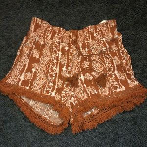 New Burnt Sienna Crinkle Shorts with Crochet Trim